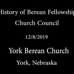 History of Berean Fellowship Church Council