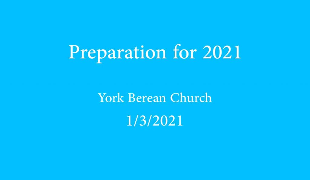 Preparation for 2021