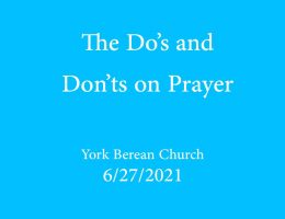 The Do's and Don'ts on Prayer